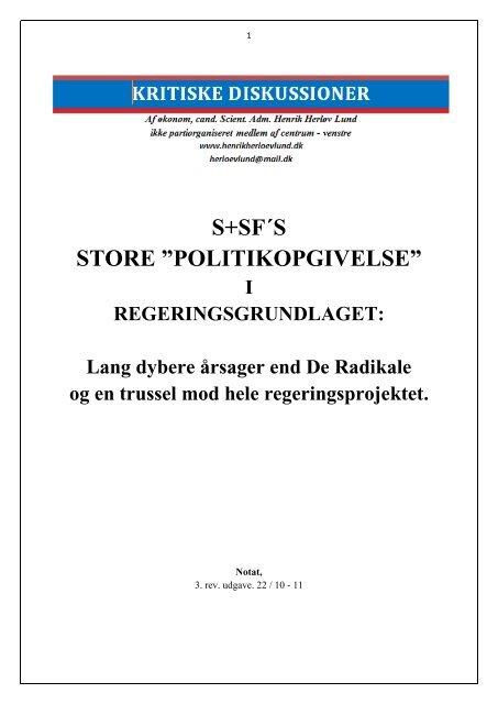 "S+SF ""STORE POLITIKUDSALG"" - Henrik Herløv Lund"