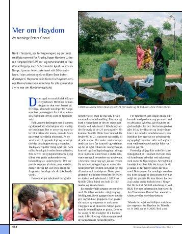 Mer om Haydom - Den norske tannlegeforenings Tidende