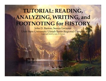 Tutorial: reading, analyzing, writing, and footnoting - Utah State ...