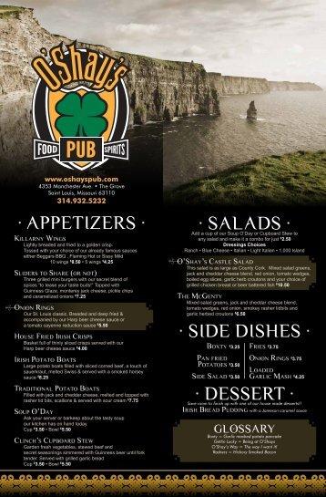 to download the menu (PDF - O'Shay's Pub