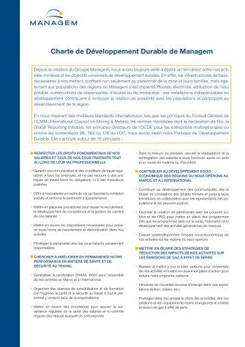 Télécharger la charte de développement durable du ... - Managem