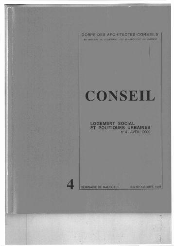 Logement social et politiques urbaines - Corps des architectes ...