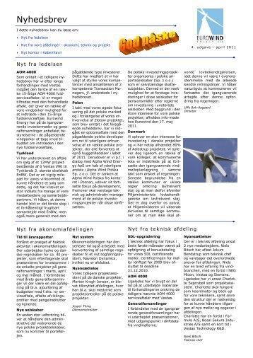 Nyhedsbrev_april_2011 - Eurowind Energy A/S