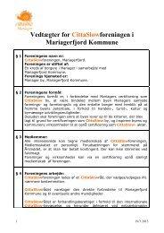 Vedtægter for CittaSlow Rådet i Mariager - Cittaslow-Mariager.dk