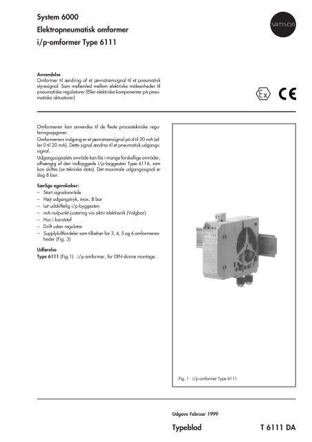 System 6000 Elektropneumatisk omformer i/p-omformer ... - Samson