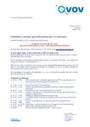 Indkaldelse - Ordinær generalforsamling den 15. marts 2013 - VOV