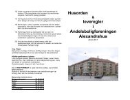 Husorden leveregler i Andelsboligforeningen Alexandrahus