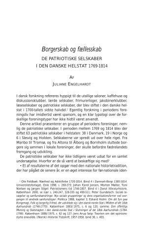 Borgerskab og fællesskab - Historisk Tidsskrift
