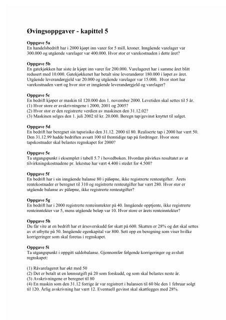 Øvingsoppgaver - kapittel 5