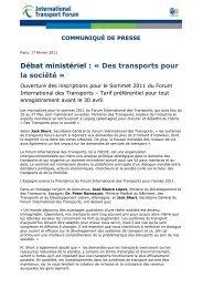 Débat ministériel : « Des transports pour la société ...