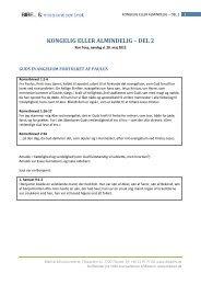 KONGELIG ELLER ALMINDELIG – DEL 2 - Bibel