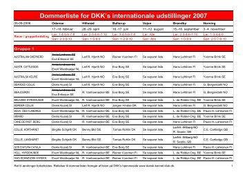 Dommerliste for DKK's internationale udstillinger 2007