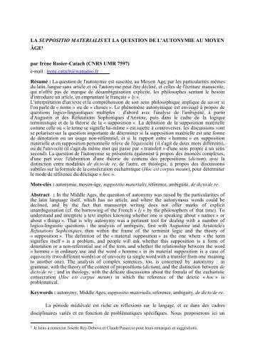 LA SUPPOSITIO MATERIALIS ET LA QUESTION DE L ... - CAVI
