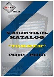 """VÆRKTØJS- KATALOG """"TOMMER"""" 2012 / 2013"""