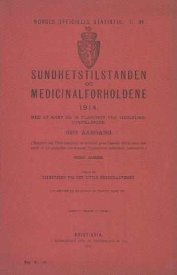 Sundhetstilstanden og medicinalforholdene 1914