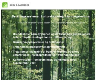 Dyrkningssystemer, kulturetablering, blandingskulturer - NordGen