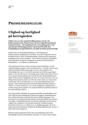 Ulighed og herlighed - Dansk Center for Herregårdsforskning
