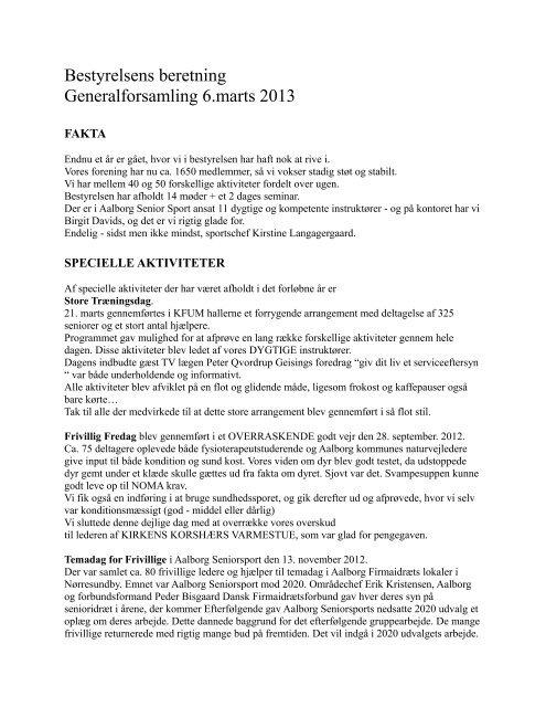 Bestyrelsens beretning Generalforsamling 6.marts 2013 - Aalborg ...