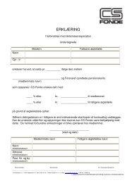 Erklæring i forbindelse med skilsmisse og seperation - CS fonde