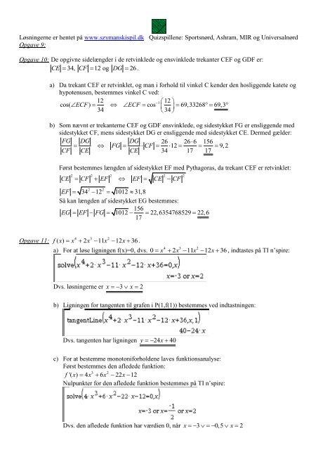 Løsning til røde vejledende eksamensopgaver - szymanski spil