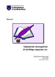 Vejledende retningslinier til skriftlige rapporter mv.