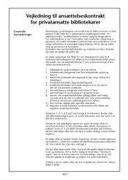 Vejledning til ansættelseskontrakt for privatansatte bibliotekarer