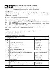 syllabus for history of missions