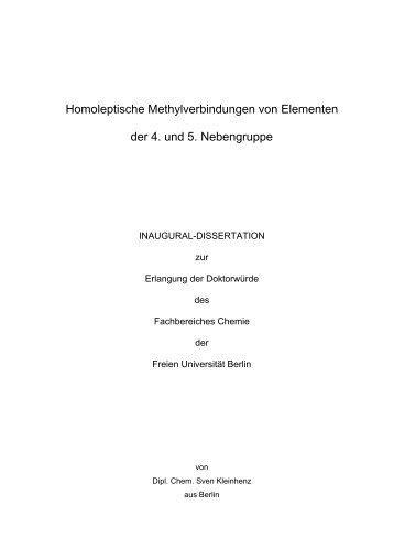 Homoleptische Methylverbindungen von Elementen der 4. und 5 ...