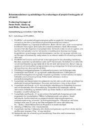 Rekommendationer og anbefalinger fra evalueringen af ... - paarisa