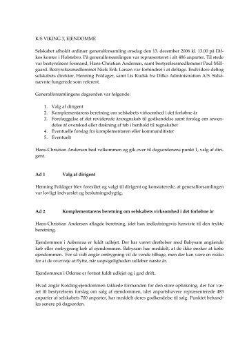 Referat af generalforsamling december 2006 - K/S Viking 3