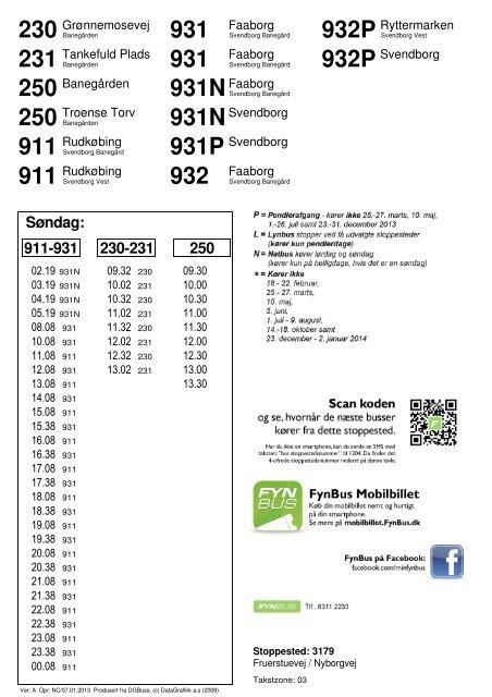 Søndag: 911-931 230-231 250 - FynBus