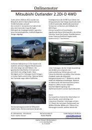 Onlinemotor Mitsubishi Outlander 2.2Di-D 4WD - Outlander-Forum