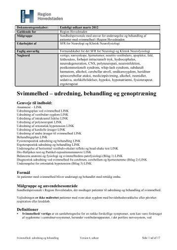 Høring vedr. vejledning om svimmelhed - Region Hovedstaden