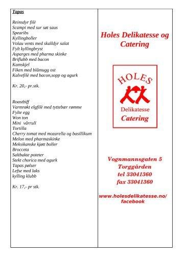 Tapas meny - Holes Delikatesse & Catering