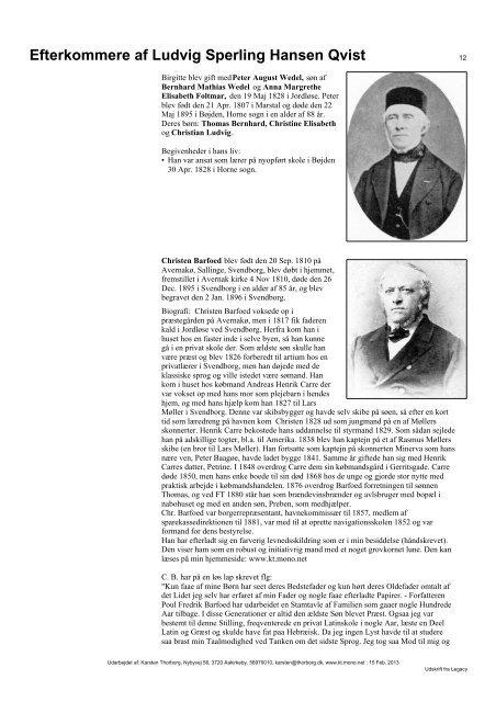 Efterkommere af Ludvig Sperling Hansen Qvist - Thorborg - Liisberg ...