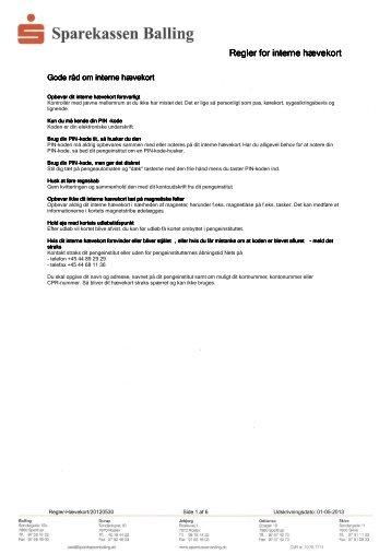 Regler for interne hævekort - Sparekassen Balling