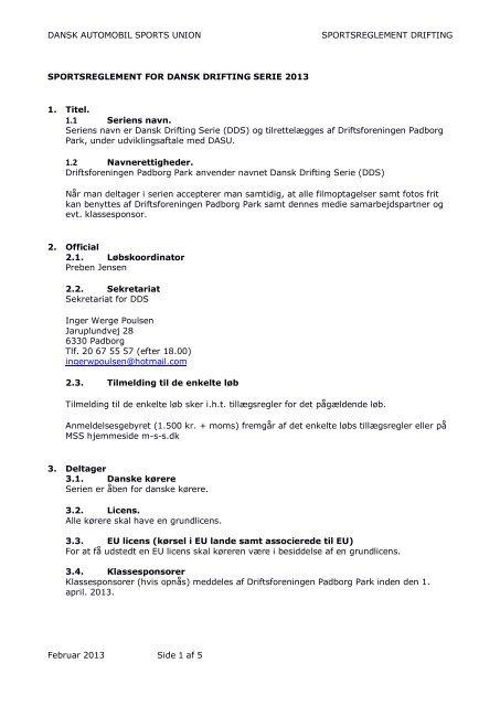Klik her for at downloade sportsligt reglement 2013