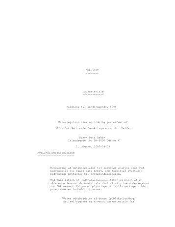 Holdning til handicappede, 1999 - DDA Samfund - Dansk Data Arkiv