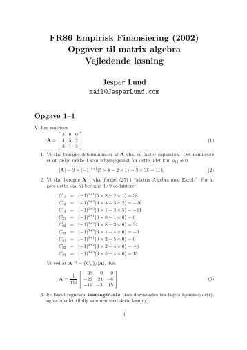Opgaver til matrix algebra - Jesper Lund