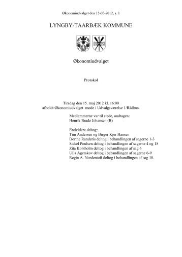 Økonomiudvalget 15-05-2012 - Referat og bilag - Lyngby Taarbæk ...