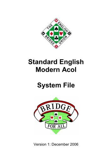 Standard English Modern Acol System File - Bridge Guys