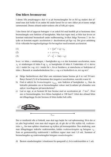 Om bilers bremseevne - Vestergaards Matematik Sider