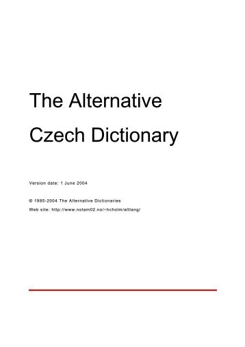 The Alternative Czech Dictionary - The Alternative Dictionaries