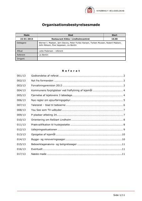 Referat af mødet - Nykøbing F. Boligselskab