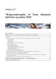 Brugerundersøgelse Analyse af ... - Team Danmark
