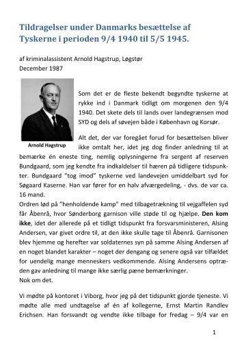 Kriminalassistent A. Hagstrups erindringer fra besættelsen
