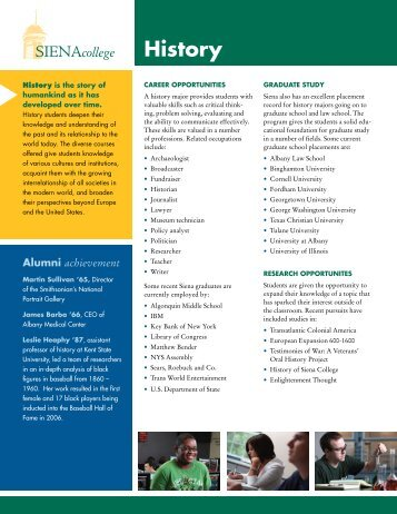 History Fact Sheet - Siena College