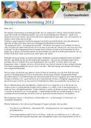 Bestyrelsens beretning 2012 - Gudenåskolen