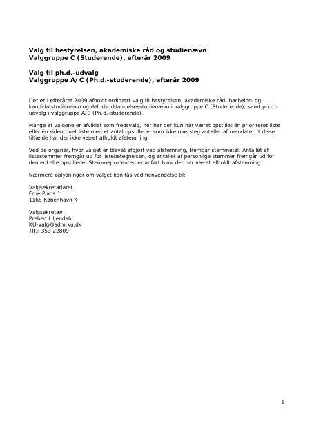Valg til bestyrelsen, akademiske råd og studienævn Valggruppe C ...