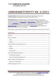ARBEIDSRETTSNYTT NR. 2/2013 - Universitetet i Oslo